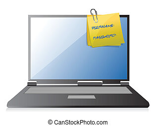 username, y, contraseña, en, un, computador portatil