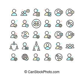 Users filled outline icon set. Vector and Illustration.