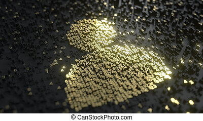 Users icon made of gold numbers. Conceptual 3D animation - ...