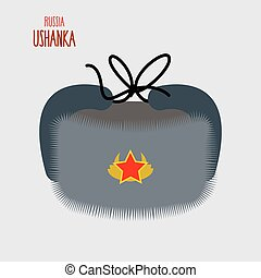 Ushanka. National cap of military in Russia. Vector illustration