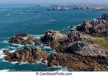 Ushant island dangerous and rocky coastline in France