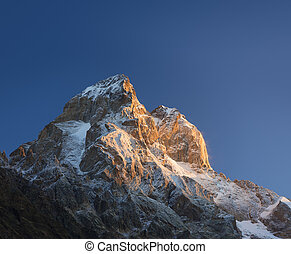 Ushba - the most beautiful peaks of the Caucasus Mountains -...