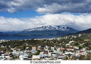 Ushuaia town in Tiera del Fuego in Argentina