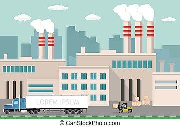 usine, élévateur, vue, fond, industriel, long, camion