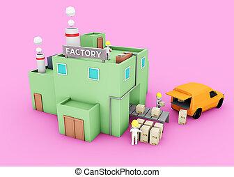 usine, 3d