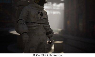 usine, abandonnés, astronaute, industriel, bâtiments, perdu, vieux