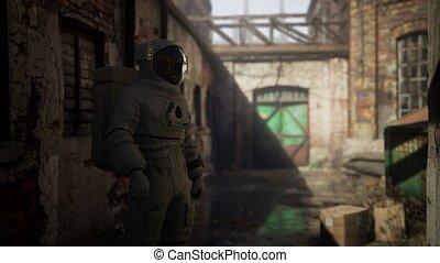 usine, bâtiments, vieux, abandonnés, astronaute, industriel, perdu