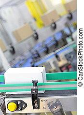 usine, carton, ceinture, -, boîtes, convoyeur, automation