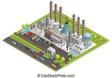 usine chimique, concept, isométrique