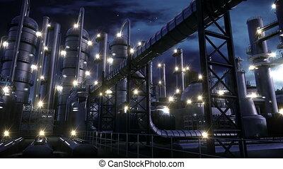 usine chimique, nuit