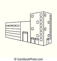 usine chimique, stock., objet, isolé, collection, symbole., environnement, vecteur, icône