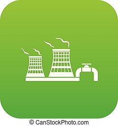 usine, chimique, vecteur, vert, tour, icône