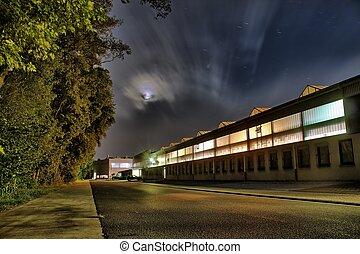 usine, coloré, nuit