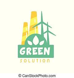 usine, concept, windmills., plat, eco, business., énergie, isolé, étiquette, vecteur, conception, cheminée, gabarit, logo, blanc, créatif, amical, écologiquement