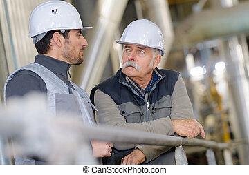 usine, conversation, ouvriers, construction