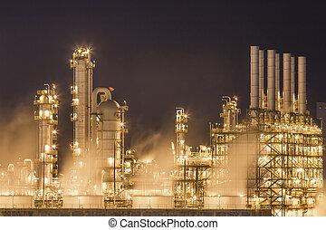 usine eau, chimique, tour de refroidissement, vapeur