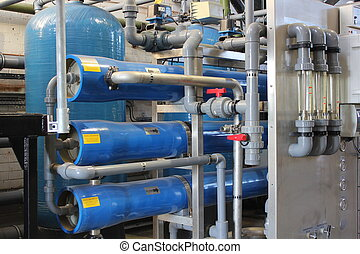 usine eau, industriel, chaudière