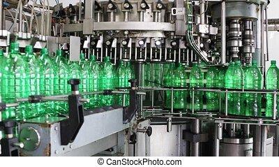 usine, embouteillage, eau, plastique, boisson