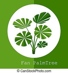 usine exotique, illustration, exotique, arbre., paume, ventilateur