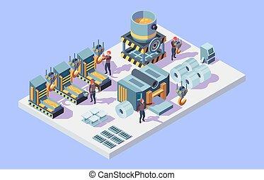 usine, factory., fonderie, isométrique, procédés, intérieur, vecteur, métallurgie, ouvriers acier