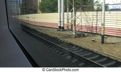 usine, fenêtre, train, en mouvement, bâtiment, vue