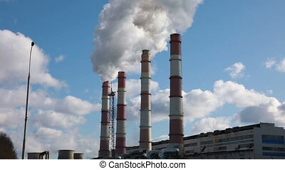 usine, fumer, cheminées