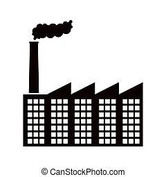 usine, image, contour, fumée, icône