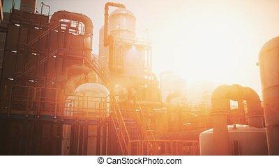 usine, industrie pétrolière, coucher soleil, raffinerie