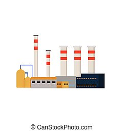 usine, industriel, bâtiments, pouvoir plante, vecteur