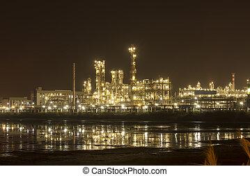 usine industrielle, chaudière, industrie, raffinerie, nuit