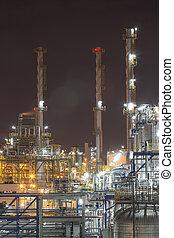 usine industrielle, dans, temps nuit