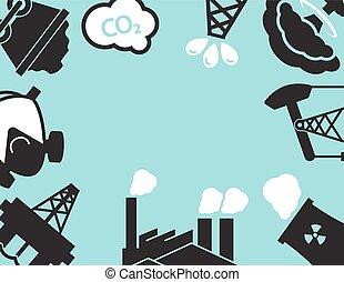 usine industrielle, ou, factory., ecology.pollution.