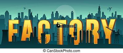 usine, infrastructure, paysage., panoramique, vecteur, illustration., silhouette, ville, fabrication, vue., industriel, arrière-plan., construction.