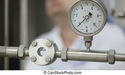 usine, ingénieur, inspection, laboratoire, pipeline, pendant, travail