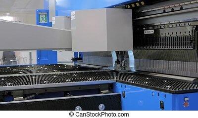 usine, métal, automatique, machine, courber, hydraulique, fonctionnement, feuille