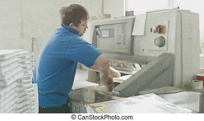 usine, machine, impression, guillotine, coupeur, travaux, homme