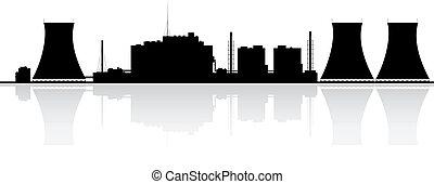 usine nucléaire, silhouette, puissance
