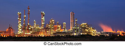 usine pétrochimique, dans, crépuscule