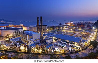 usine pétrochimique, industriel, nuit
