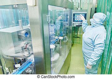 usine pharmaceutique, ouvrier