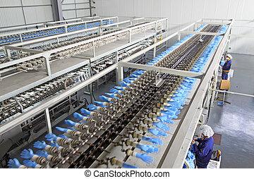 usine, pvc, production, gants, aérien, ligne