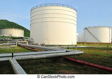 usine, raffinerie pétrole, matin