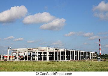 usine, site, champ, construction, vert, nouveau