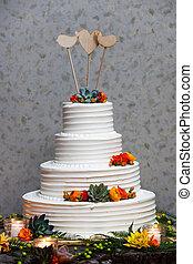 usine succulente, glaçage, coeur, bois, formé, fondant, jaune, trois, gâteau, toppers, vide, orange, mariage, fleurs, oiseau, blanc