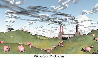 usine, surréaliste, cochons, moviong, pour, paysage