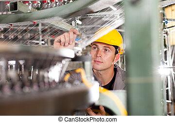 usine textile, qualité, contrôleur, vérification