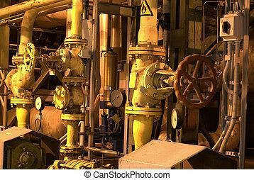 usine, tuyauterie, machines
