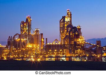 usine, /, usine chimique, à, coucher soleil