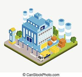 usine, vecteur, isométrique, bâtiment