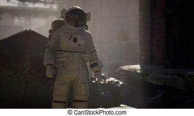 usine, vieux, astronaute, industriel, perdu, abandonnés, bâtiments